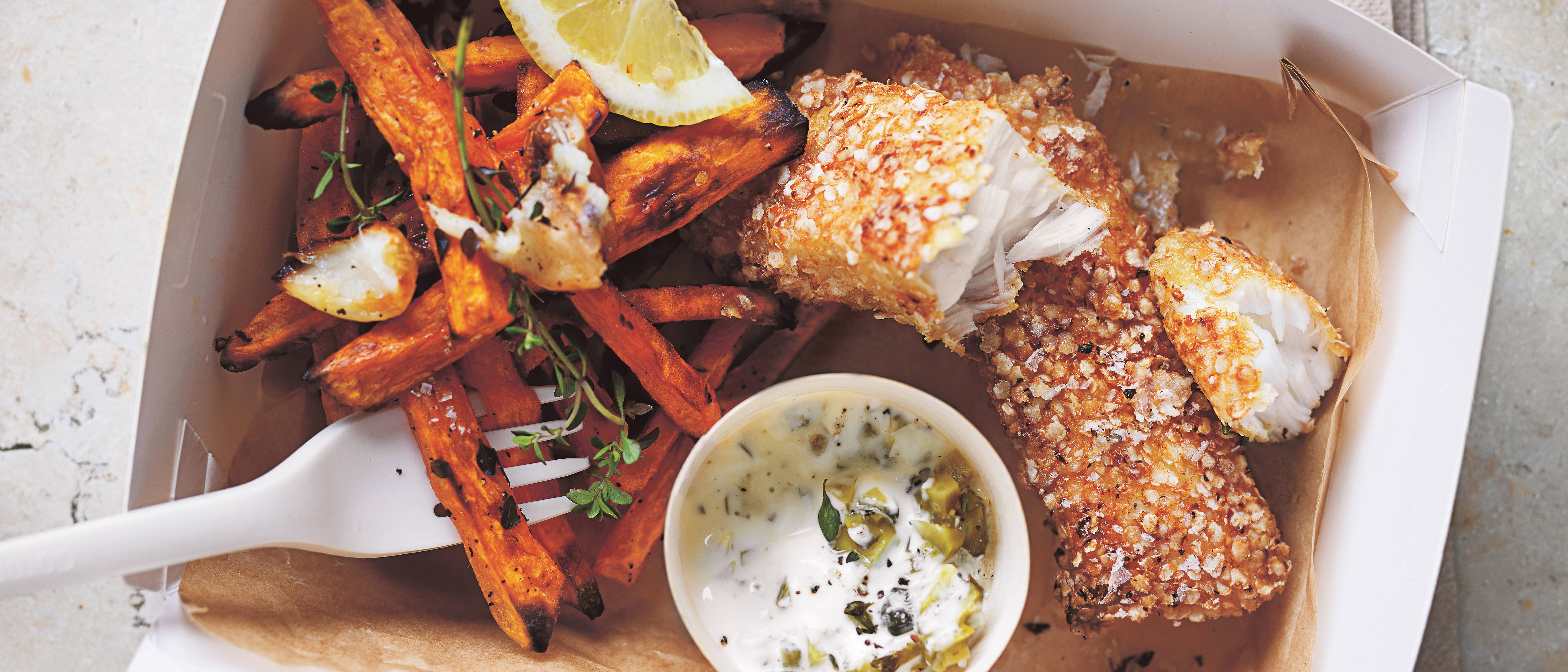 Recipe: Donna Hay's quinoa-crusted fish with sweet potato chips and yoghurt tartare