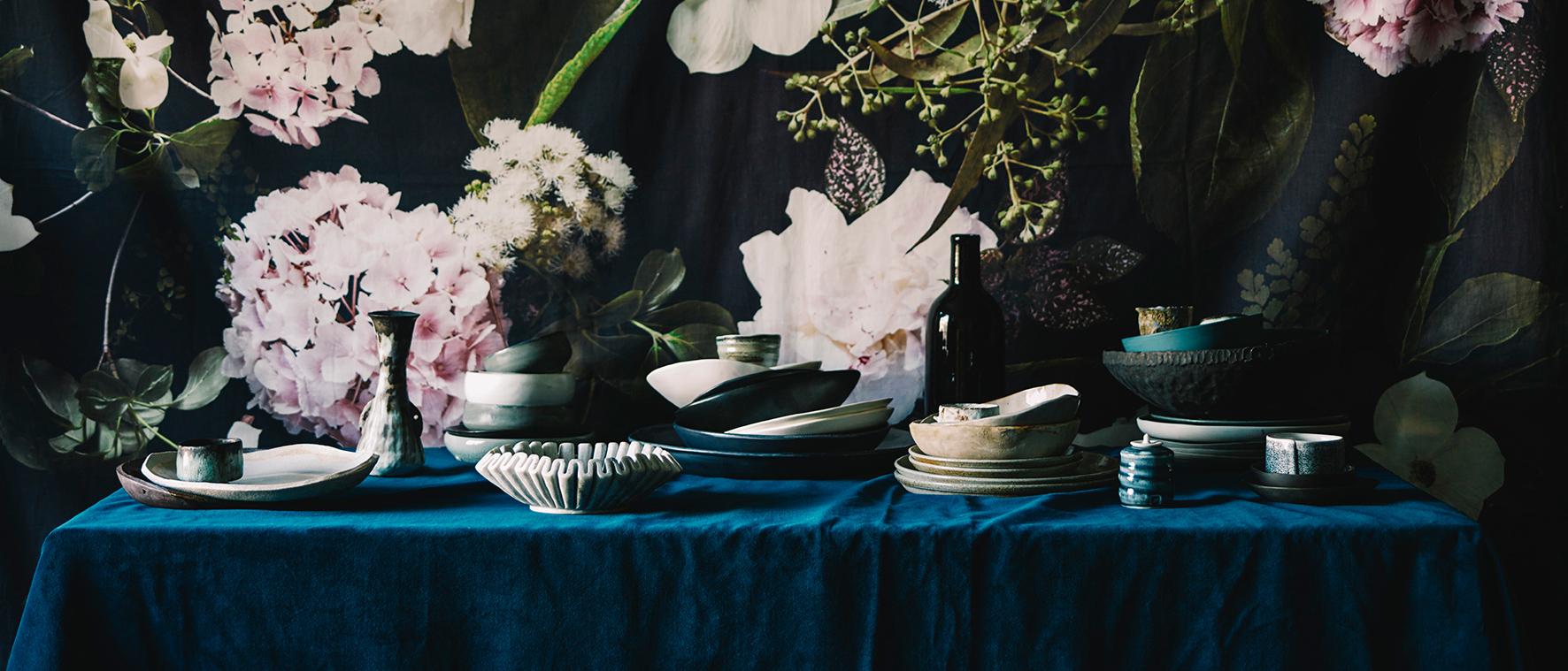 Blue Velvet: Heavenly Tabletop Vignettes By Claire Delmar