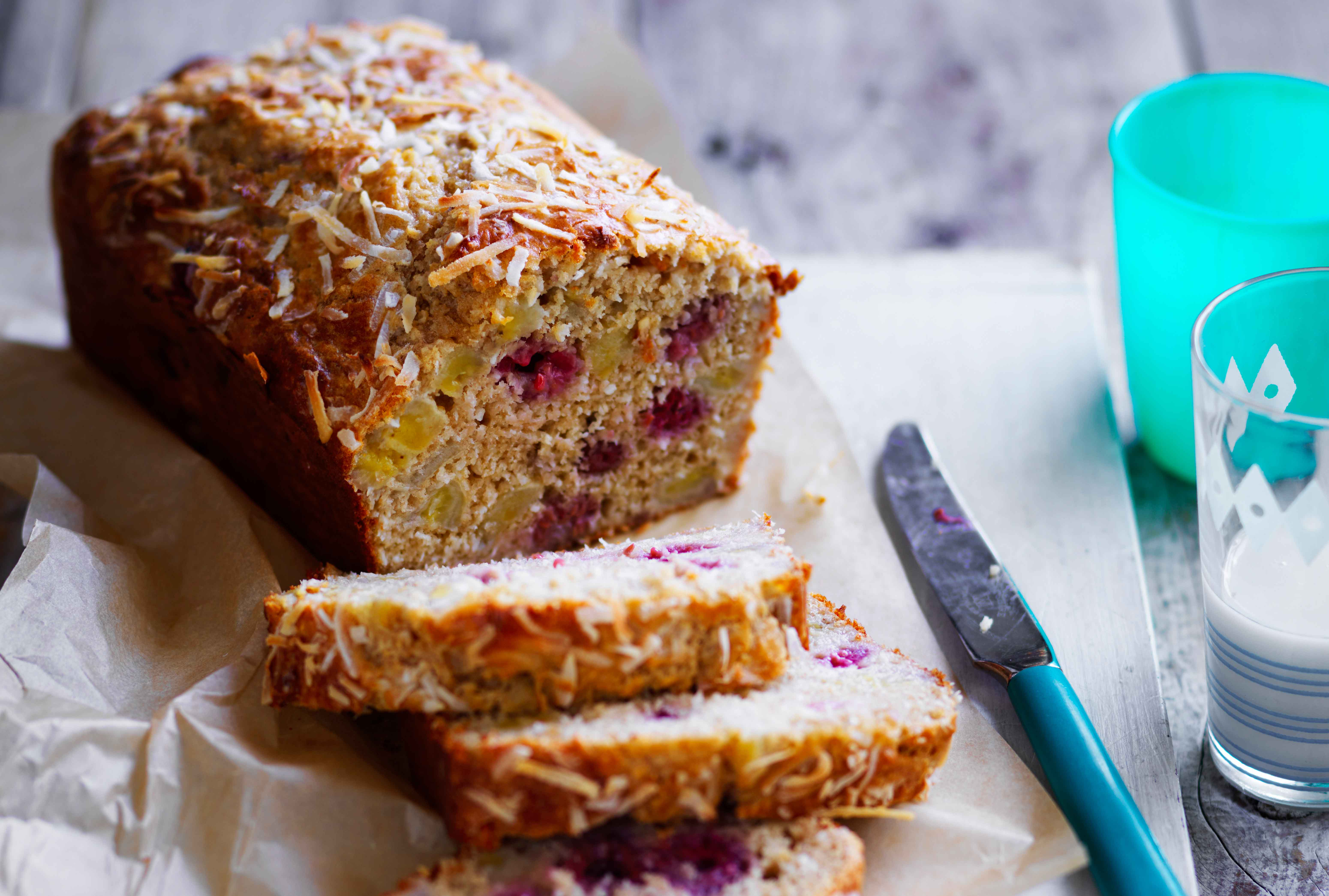 Banana and coconut bread with raspberries
