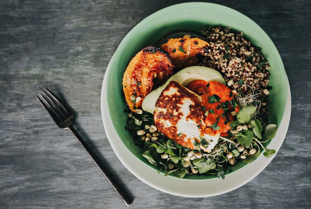 Katrina Meynink's Harissa Roasted Pumpkin, Haloumi and Grains Salad Bowl