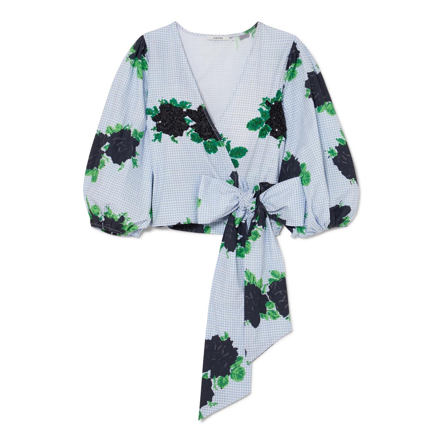 GANNI Pine Embellished Printed Wrap Top