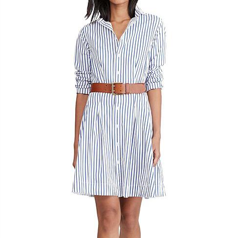 Ralph Lauren Poplin Stripe Ls Charlotte Dress
