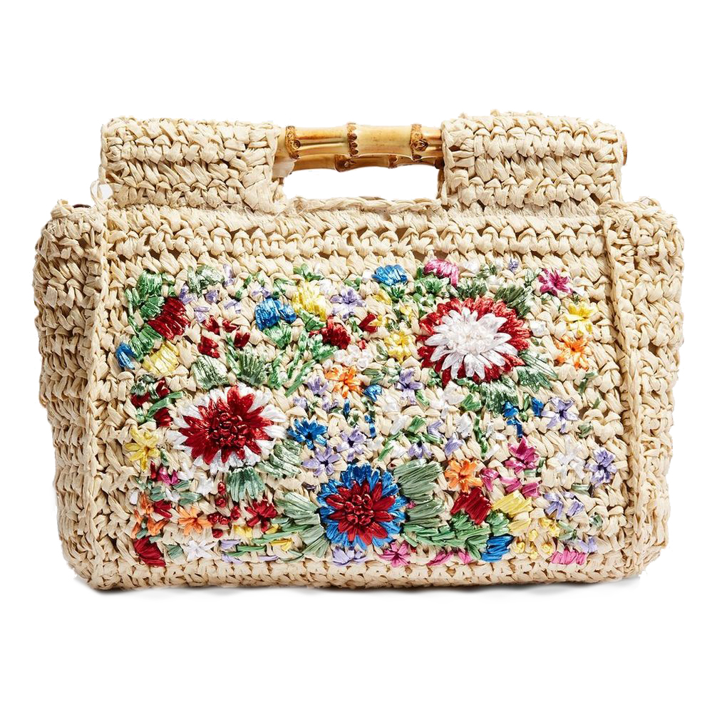 Topshop Embroidered Bamboo Tote Bag