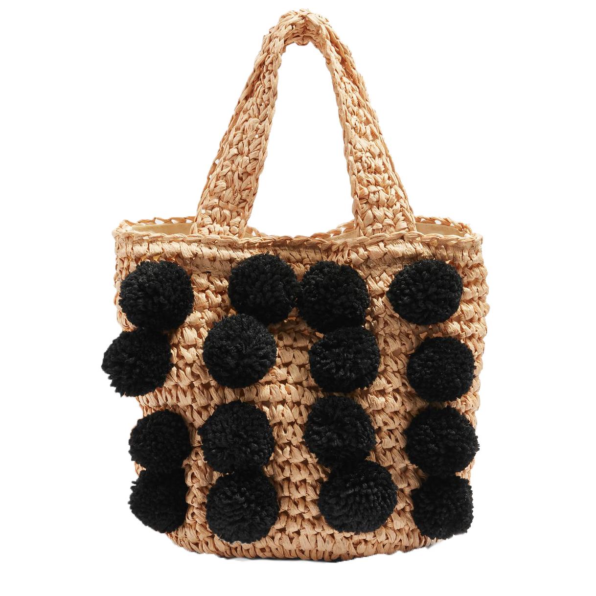 Topshop Pom Pom Straw Tote Bag