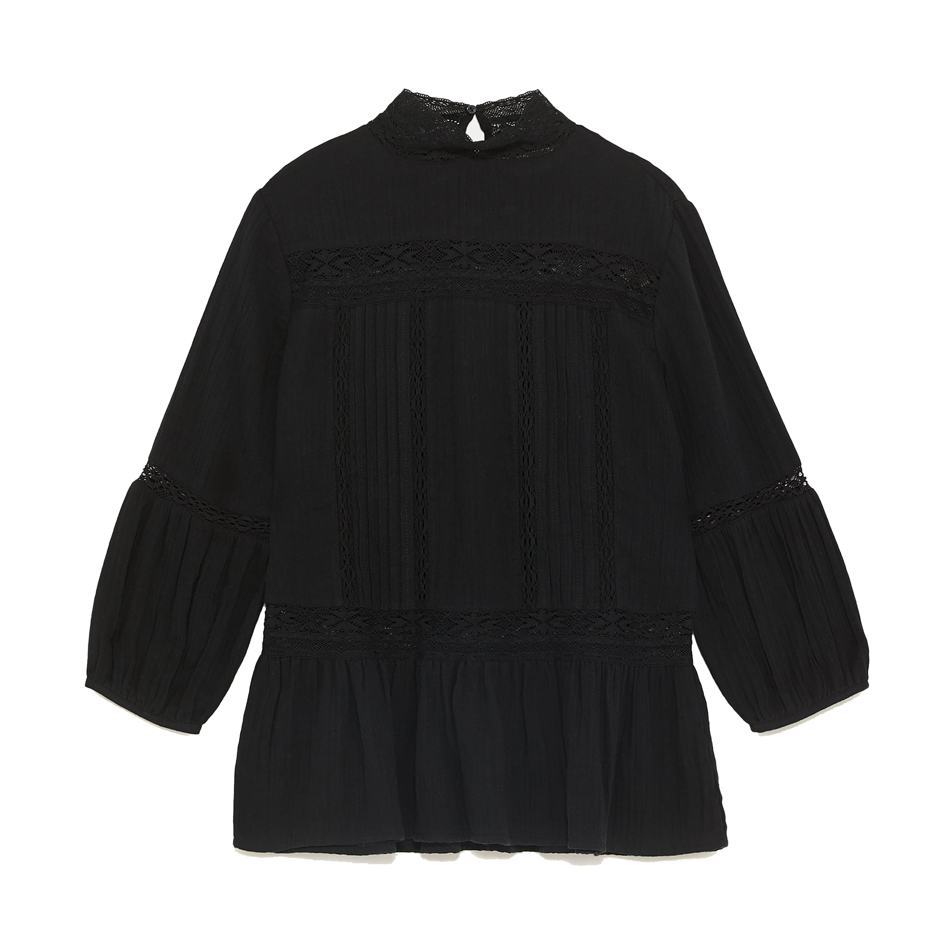 Zara Blouse With Lace Trims