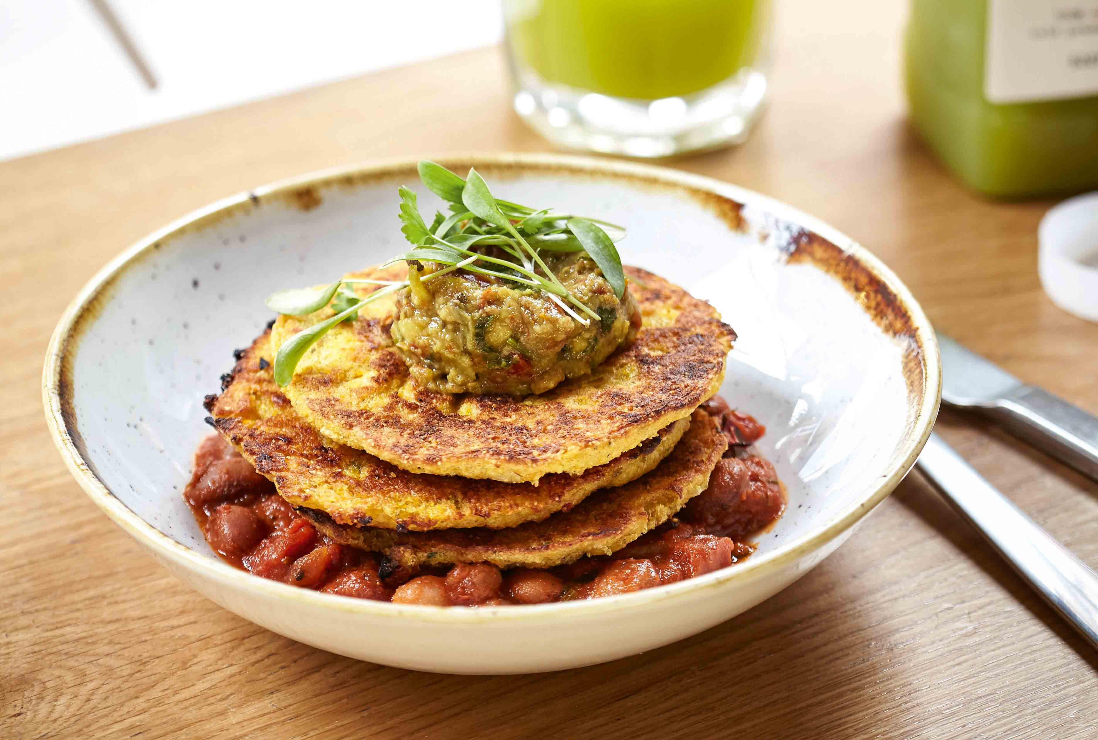 Corn Fritters With Smoky Baked Beans & Avo Smash