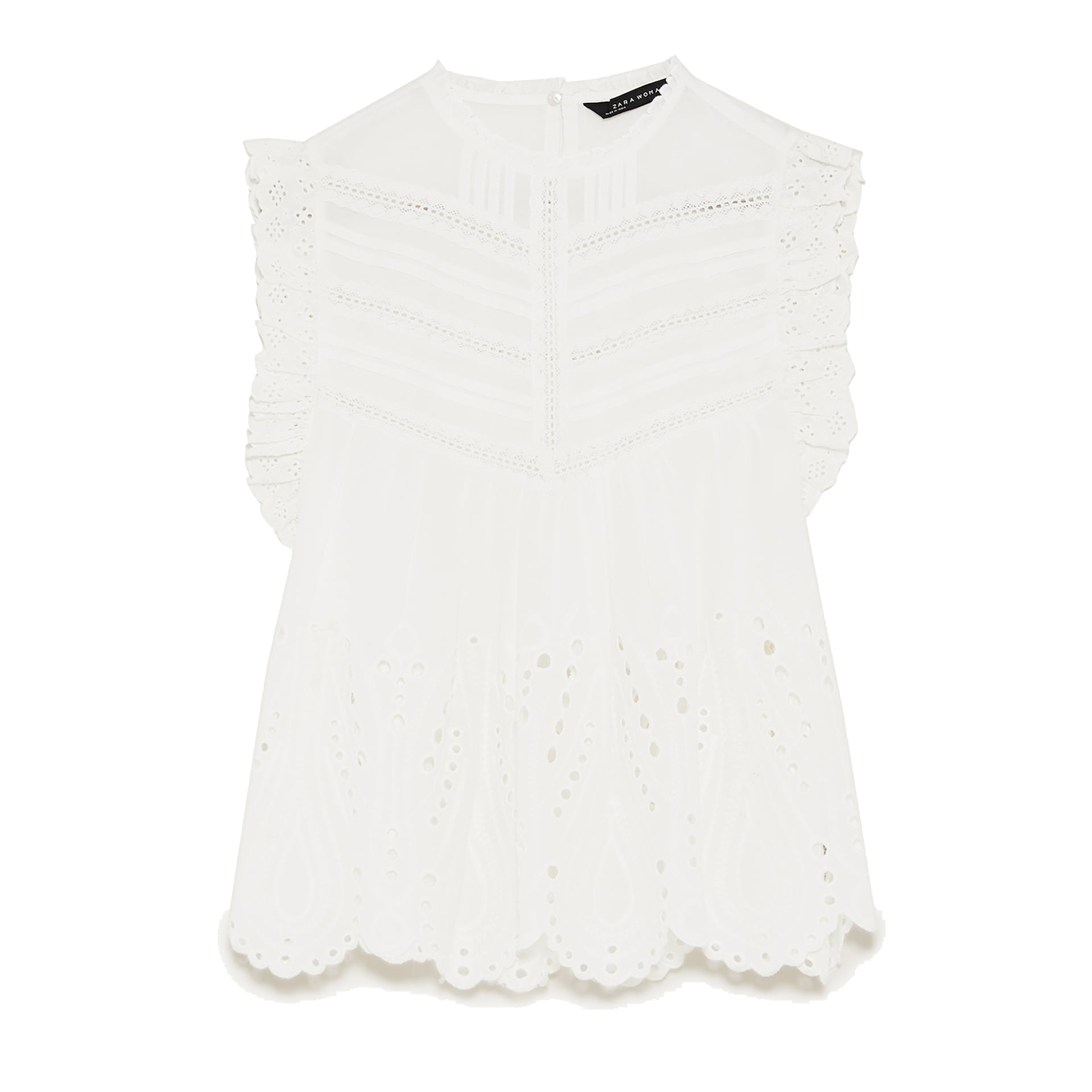 Zara Embroidered Blouse With Perforations