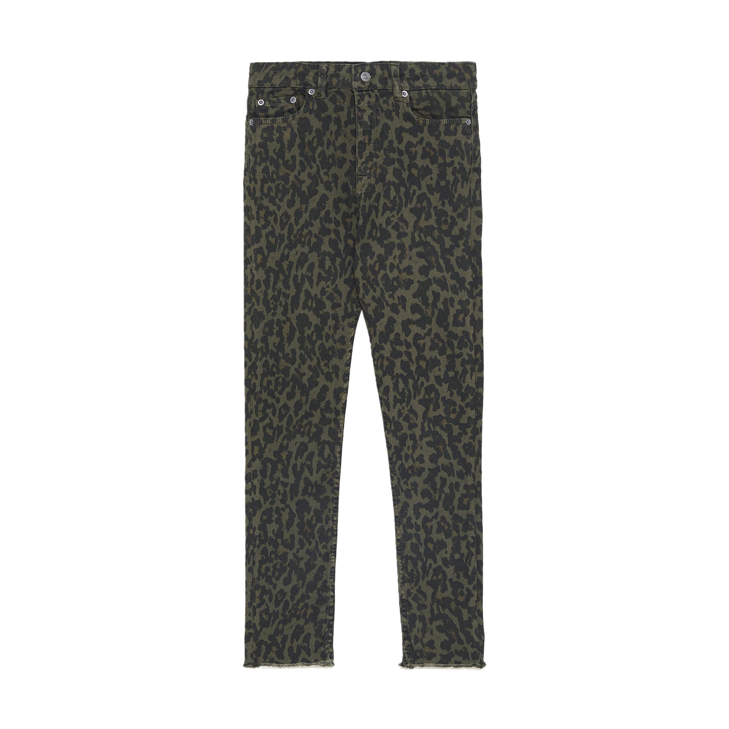 Zara High Waist Leopard Print Jeans