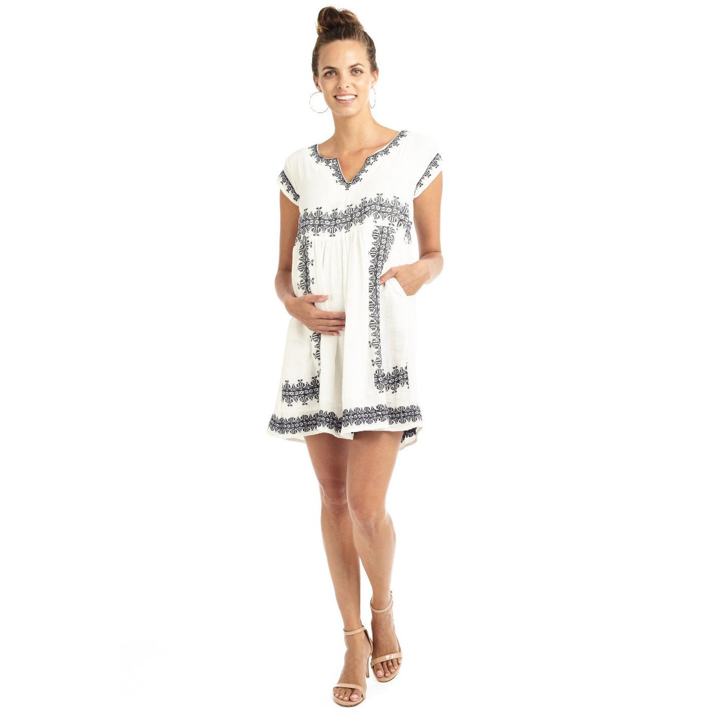 Mama Muse Isla Embroidered Maternity Day Dress