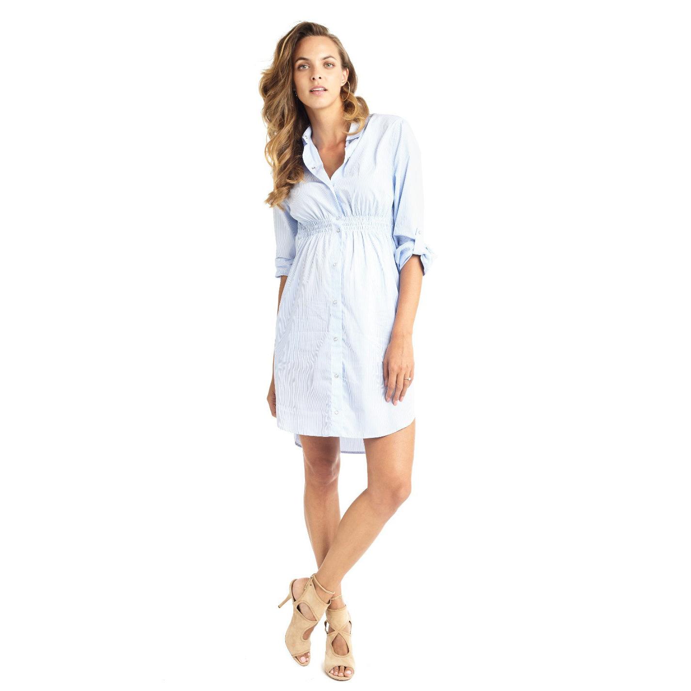 Mama Muse Elliot Pinstripe Maternity Shirt Dress
