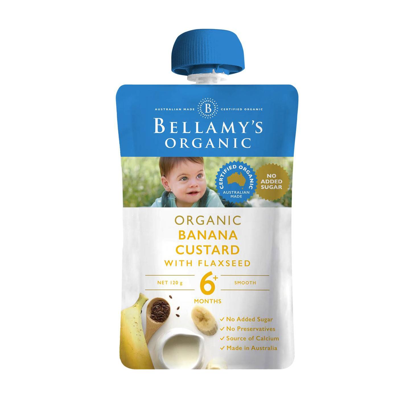 Bellamy's Organic Banana Custard With Flaxseed 6 Months 120g