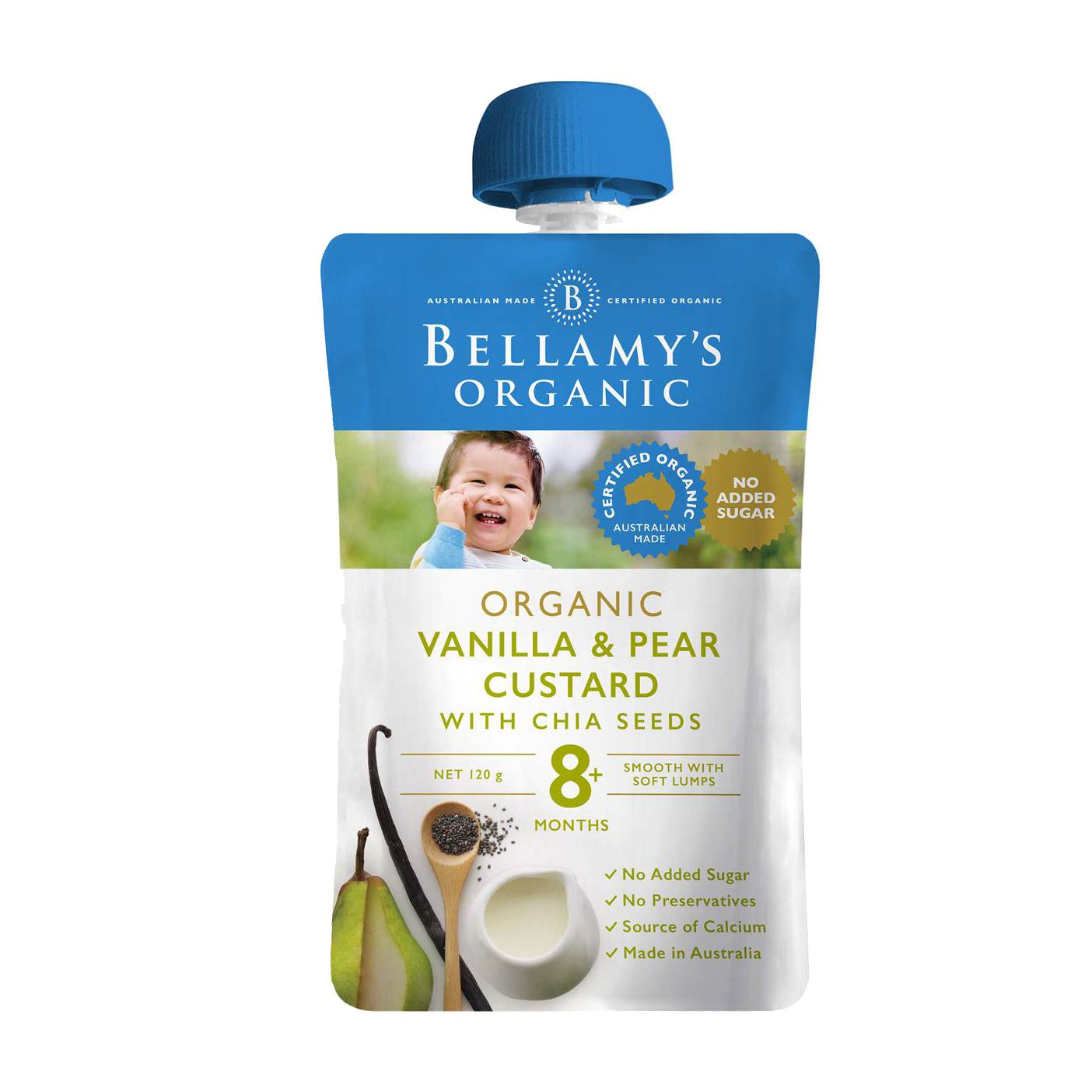 Bellamy's Organic Vanilla & Pear Custard With Chia Seeds 8 Months 120g
