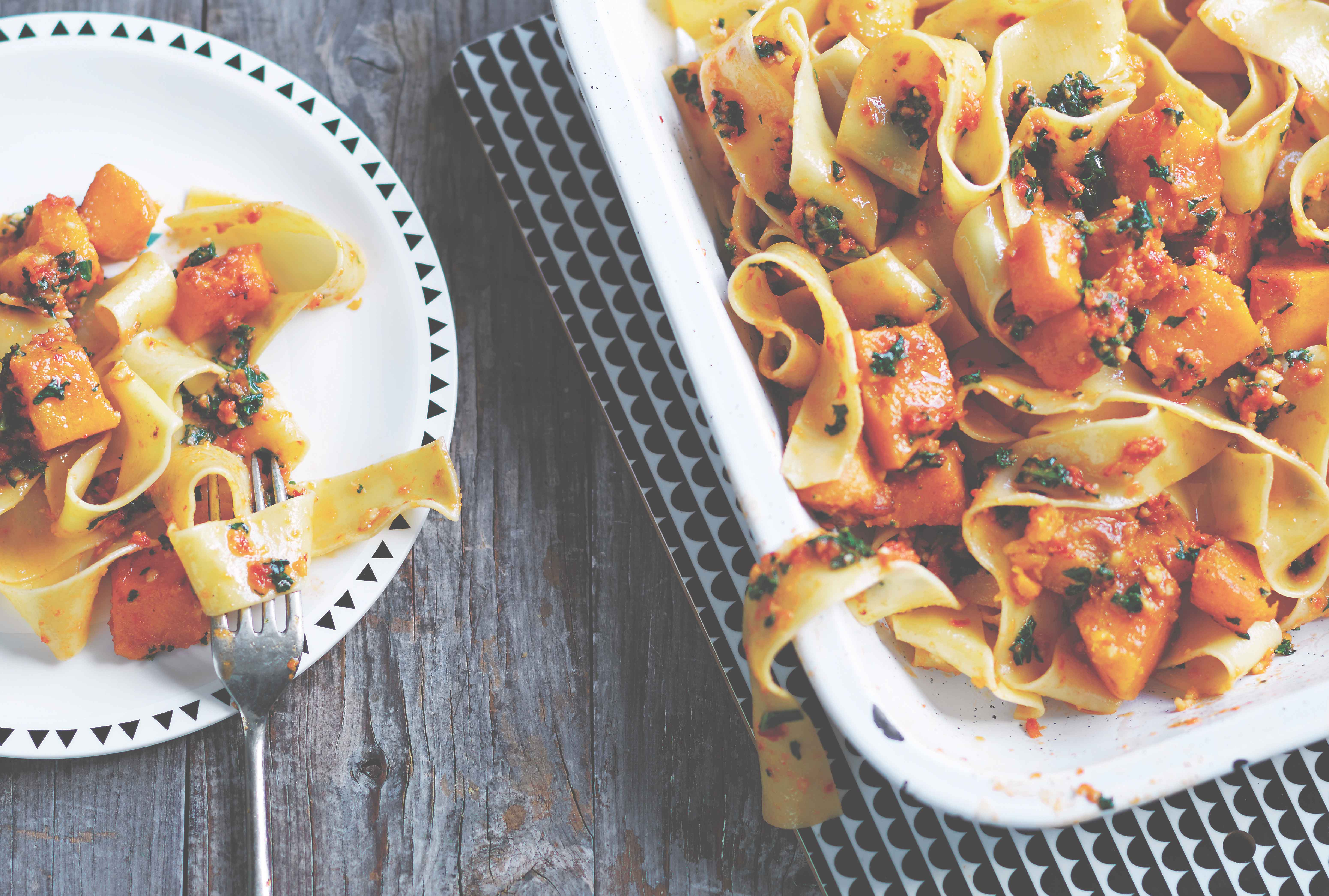 Roasted Pumpkin Pappardelle with Kale & Cashew Pesto