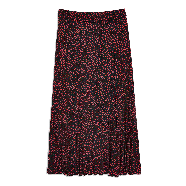 Topshop Animal Spot Pleat Midi Skirt