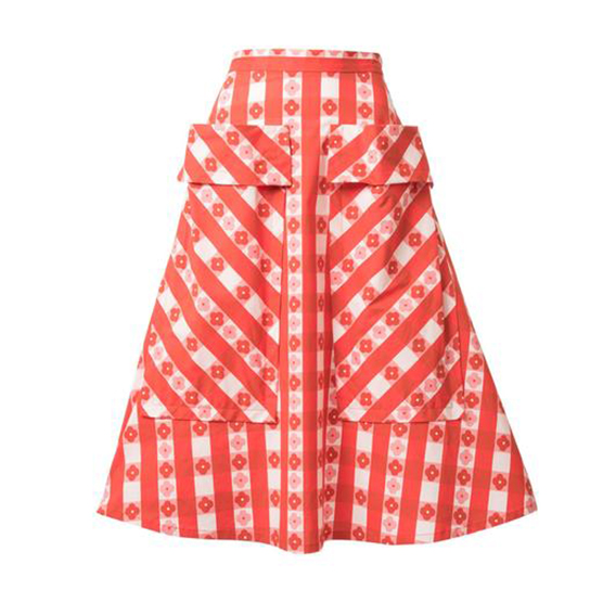 LHD The Bardot Skirt Gingham With Flowers Red