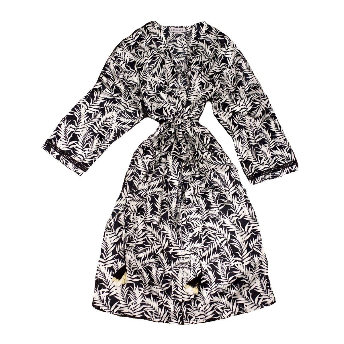 Louvelle Saskia Cotton Silk Robe In Black Palm