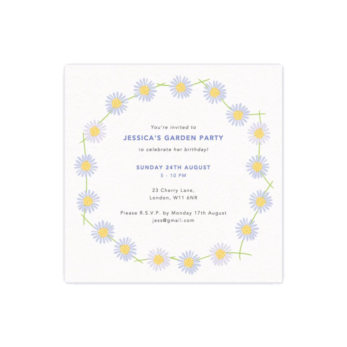 Papier Daisy Chain Party Invitation