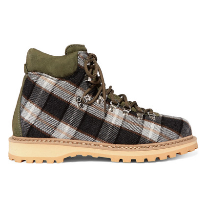 DIEMME Roccia suede-trimmed checked wool ankle boots £246