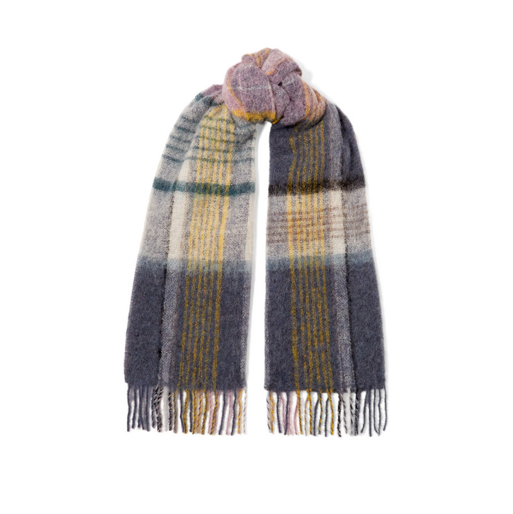 HOLZWEILER Fresia fringed checked knitted scarf£115