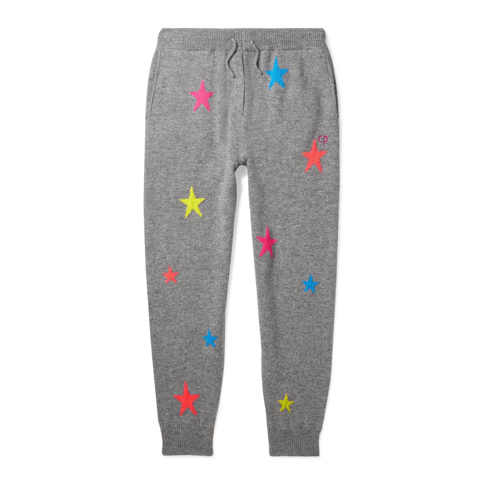 Chinti & Parker Kids Star Intarsia Cashmere Track Pants
