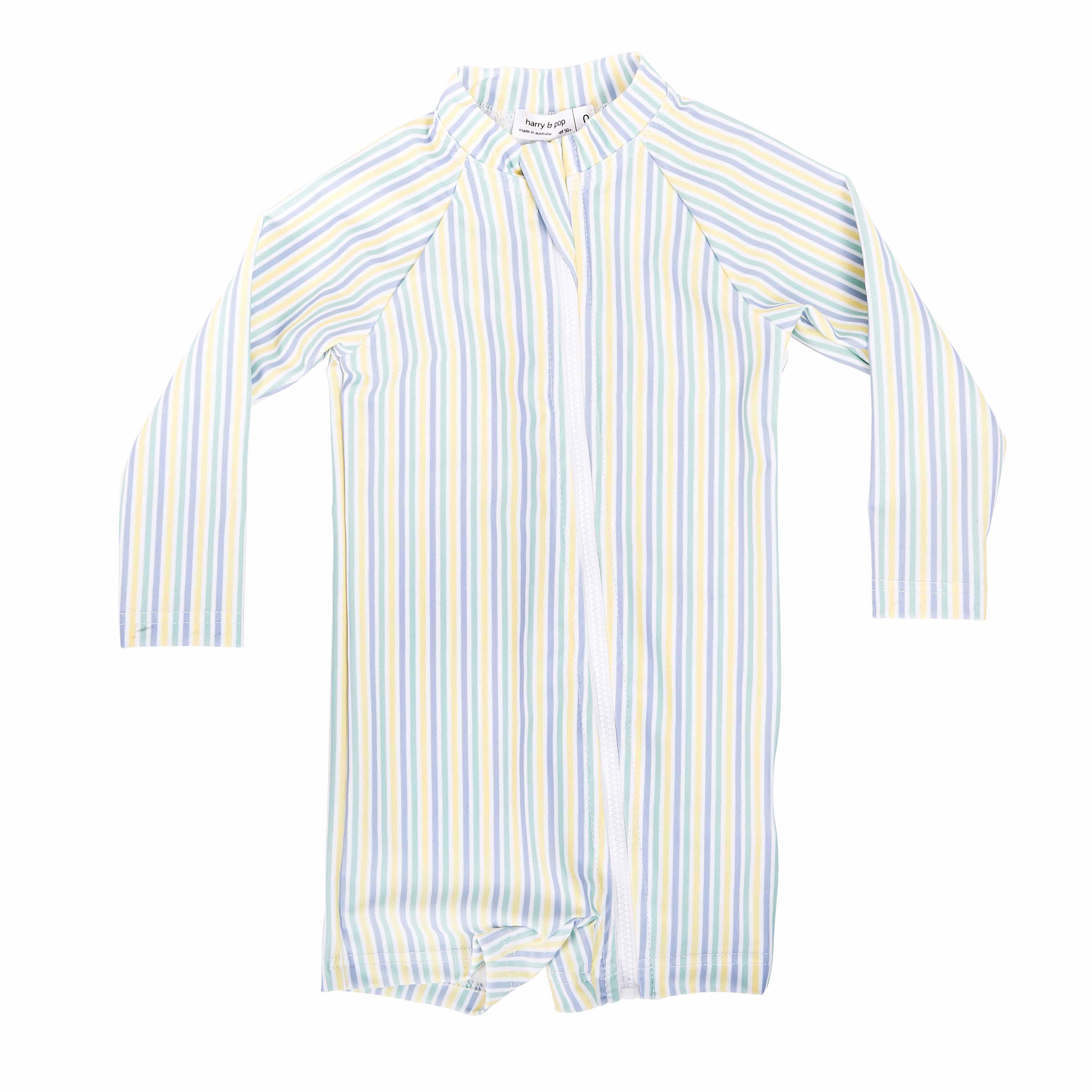 harry & pop Bondi Blue Stripe Sunsuit