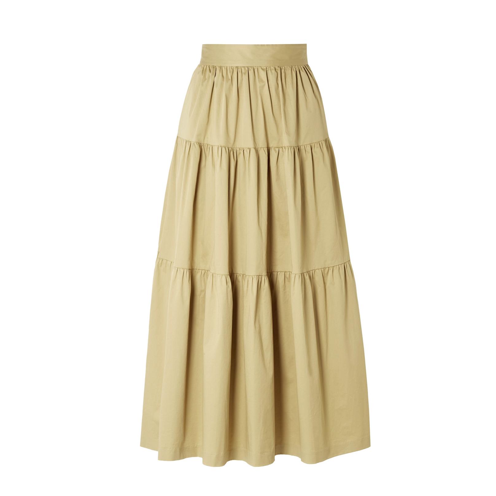 STAUD Sea Tiered Midi Skirt