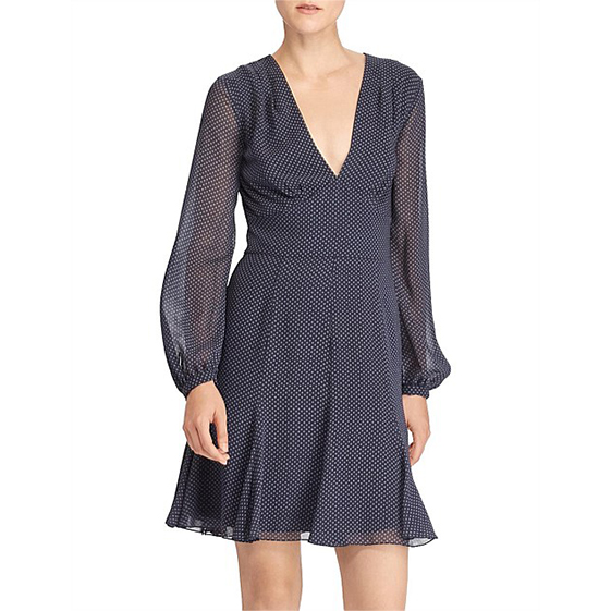 Polo Ralph Lauren Crepe Long Sleeve Dress