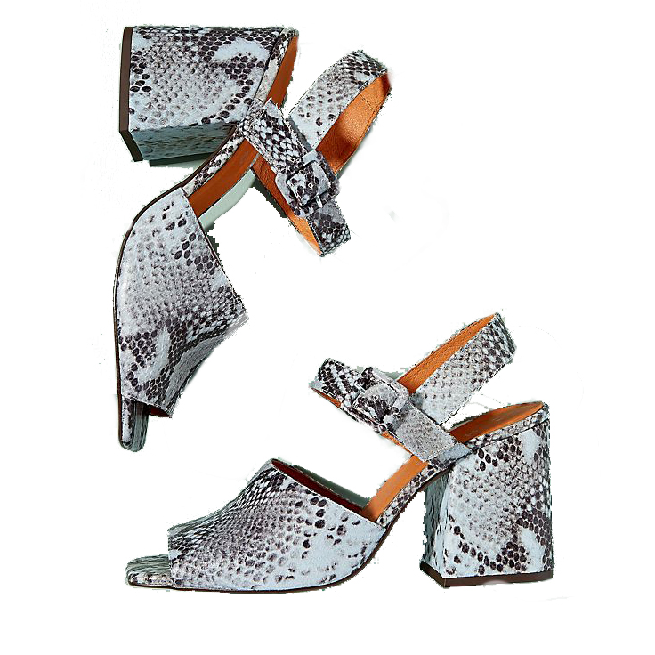 Anthropologie Chio Snake-Effect Leather Block Heels