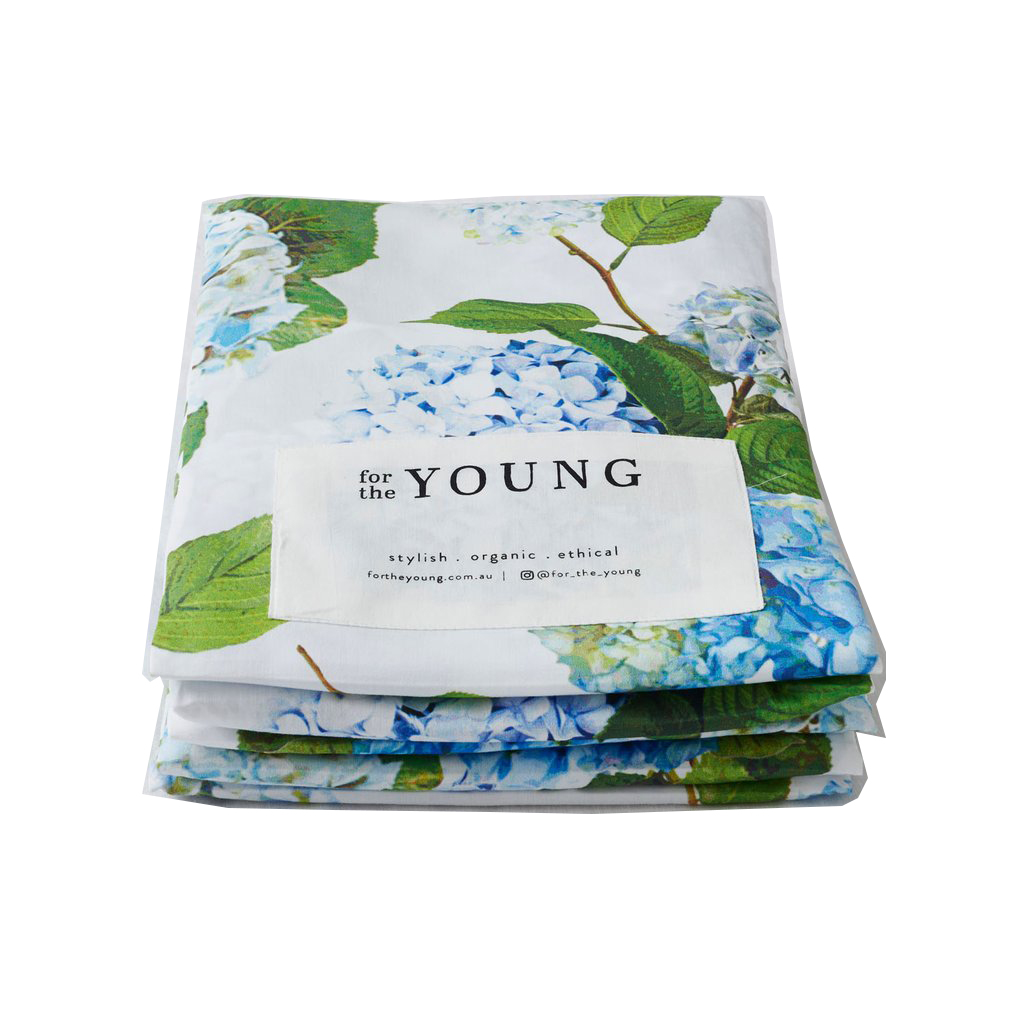 For The Young Fitted Cot Sheet Hydrangeas