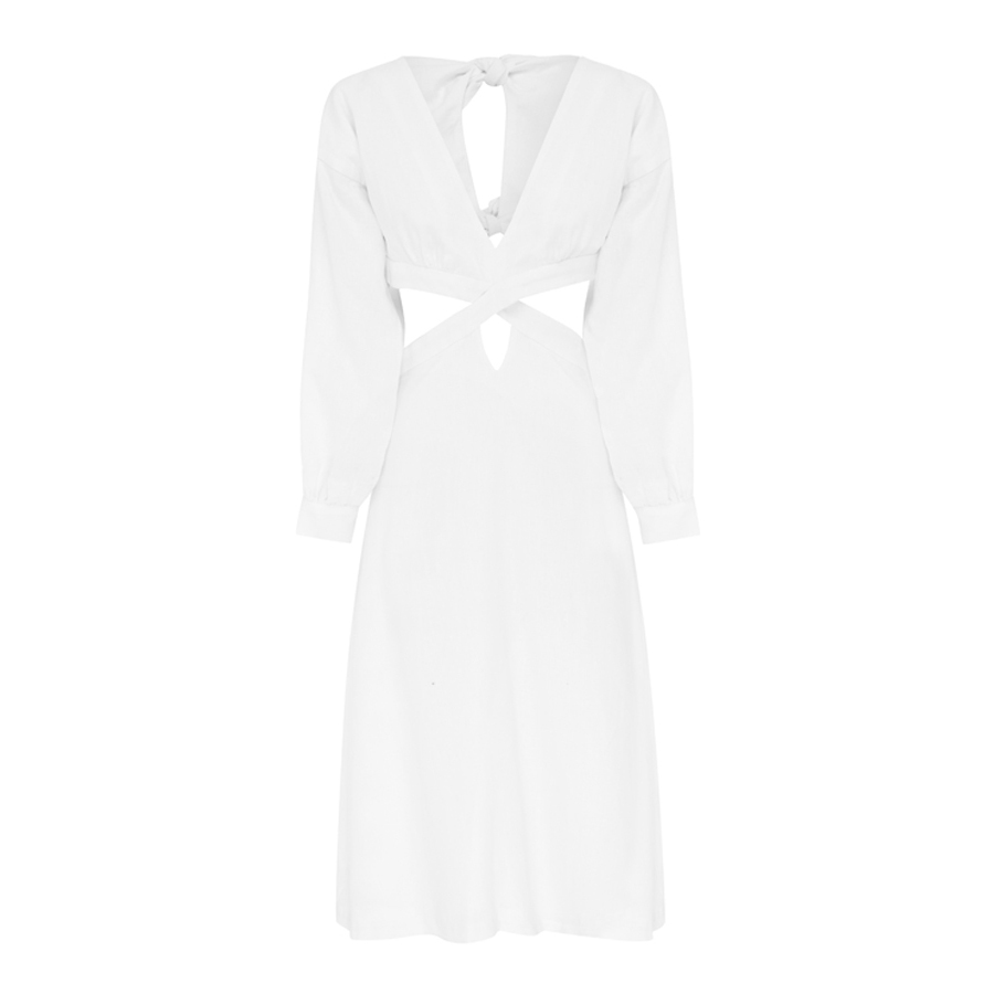 Ephemera Linen Split Midi Dress