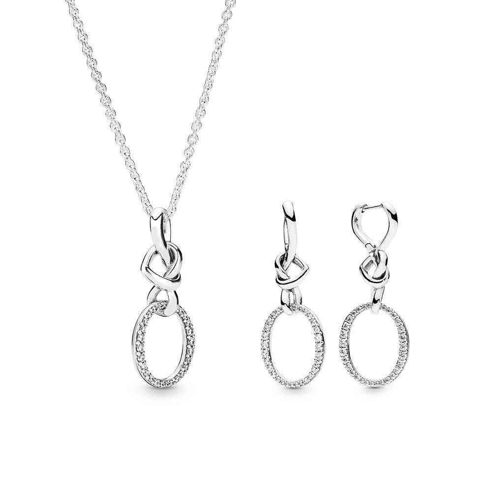 PANDORA KNOTTED HEARTS NECKLACE AND EARRING GIFT SET Sterling Silver, Cubic Zirconia
