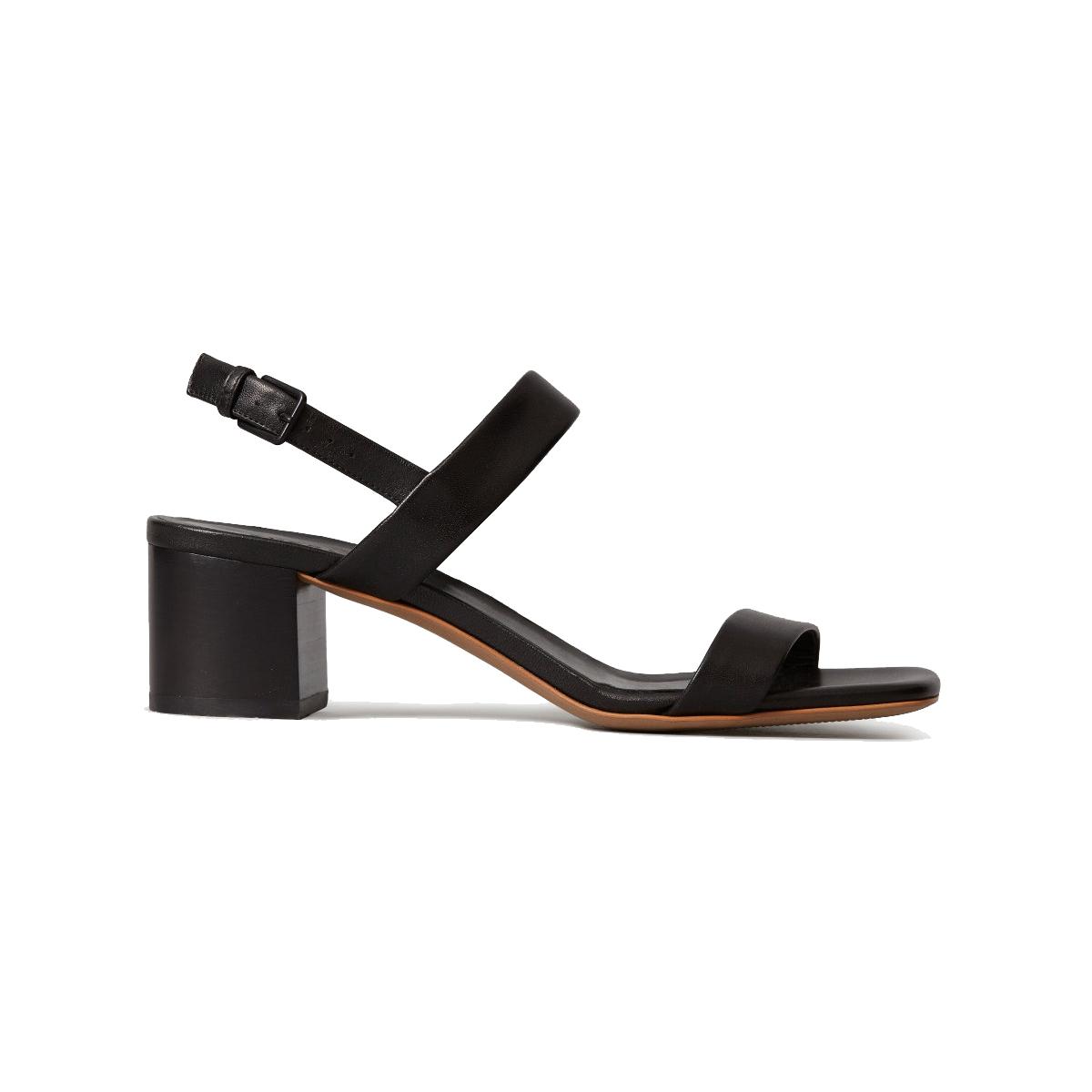Everlane The Double-Strap Block Heel Sandal in Black