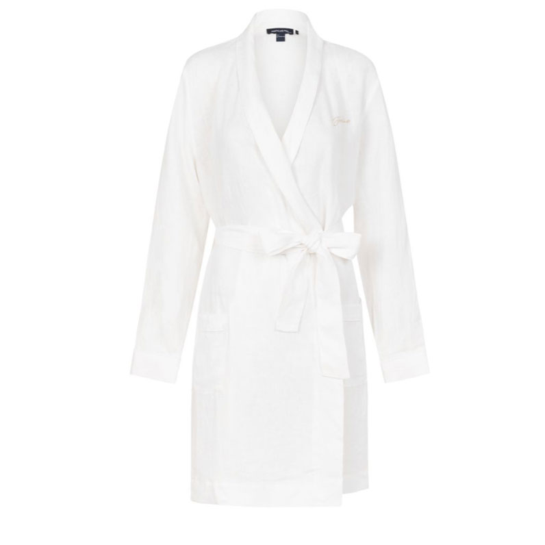 Jasmine & Will Monogrammed Linen Robe – White with White Trim  $149.00