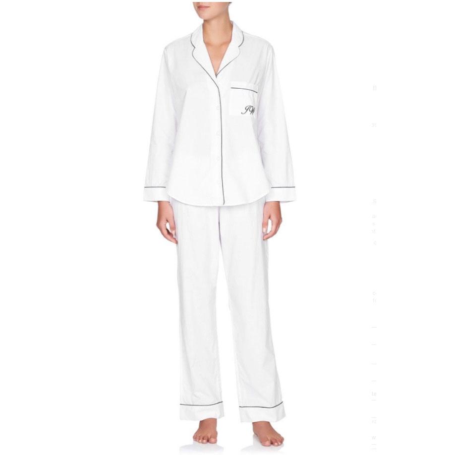 Jasmine & Will Monogrammed Linen Pyjama Set – White with Navy Trim  $159.00