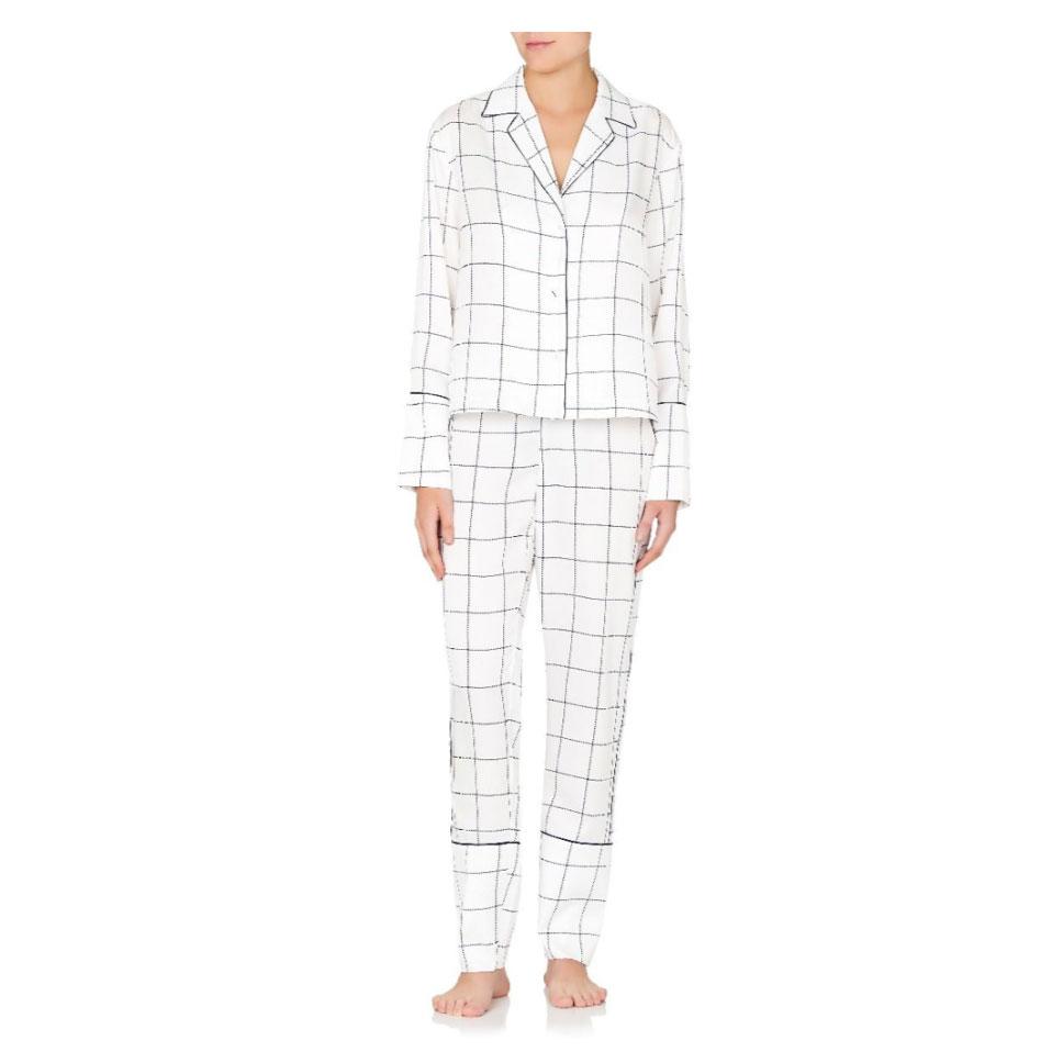 Jasmine & Will Amalfi Long Pyjama Set – Navy Check  $149.00