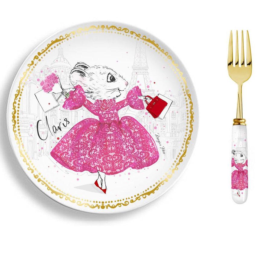 Megan Hess LIMITED EDITION Claris Plate Set – Strawberry Soufflé $60.00