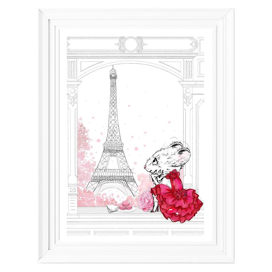 Megan Hess Limited Edition Print – Claris' Eiffel Tower