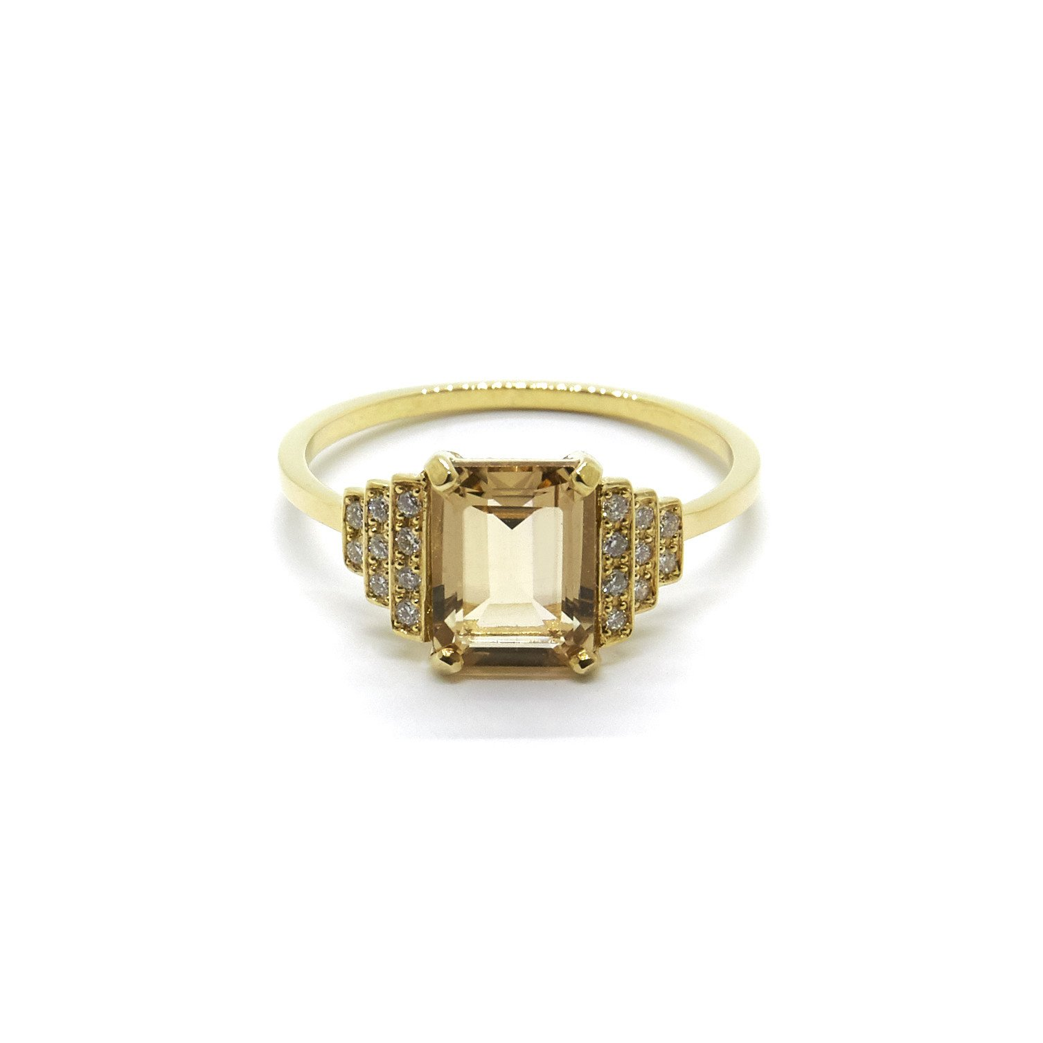 Natalie Marie Jewellery Maya Ring with Champagne Quartz and White Diamonds