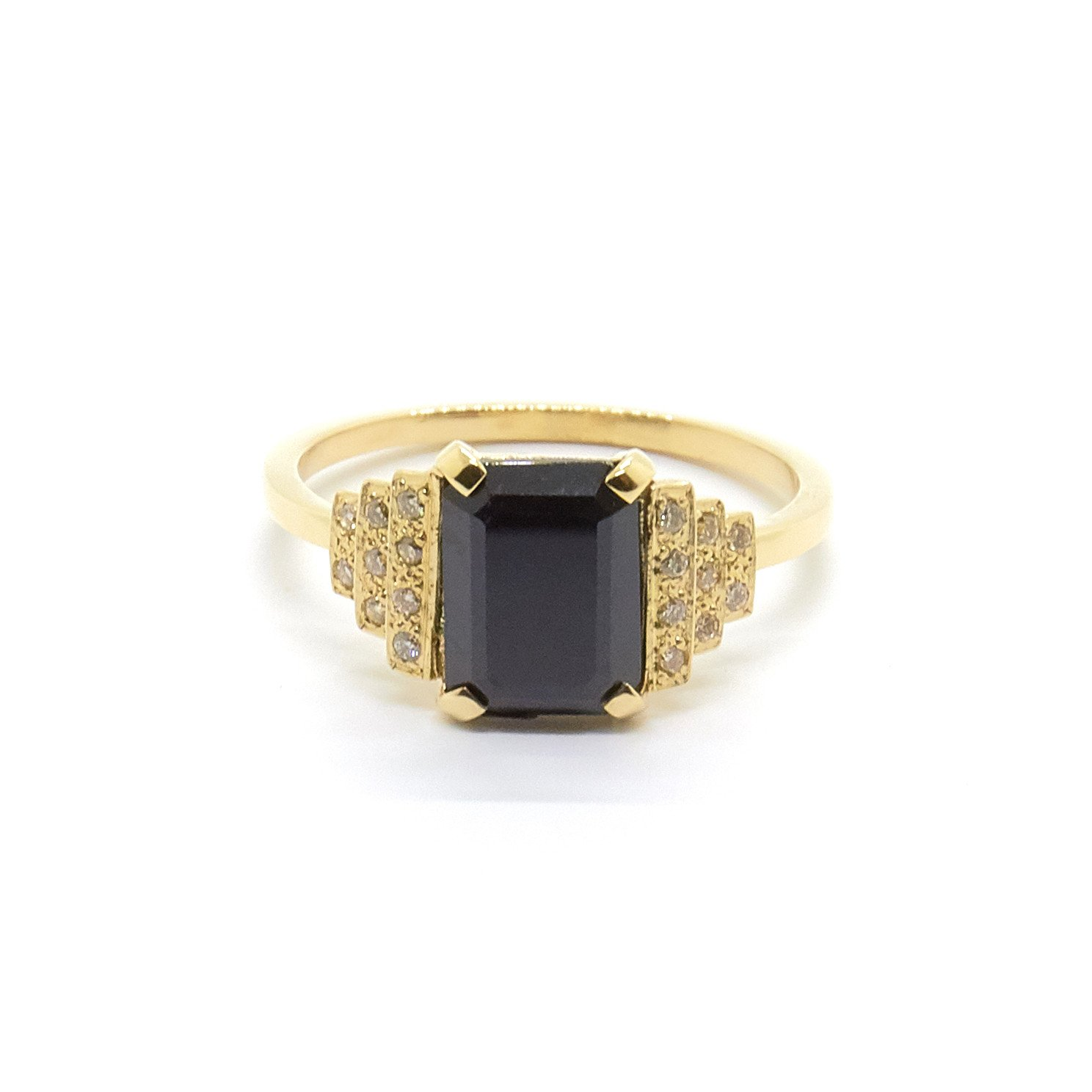 Natalie Marie Jewellery Maya Ring with Black Spinel and Champagne Diamonds