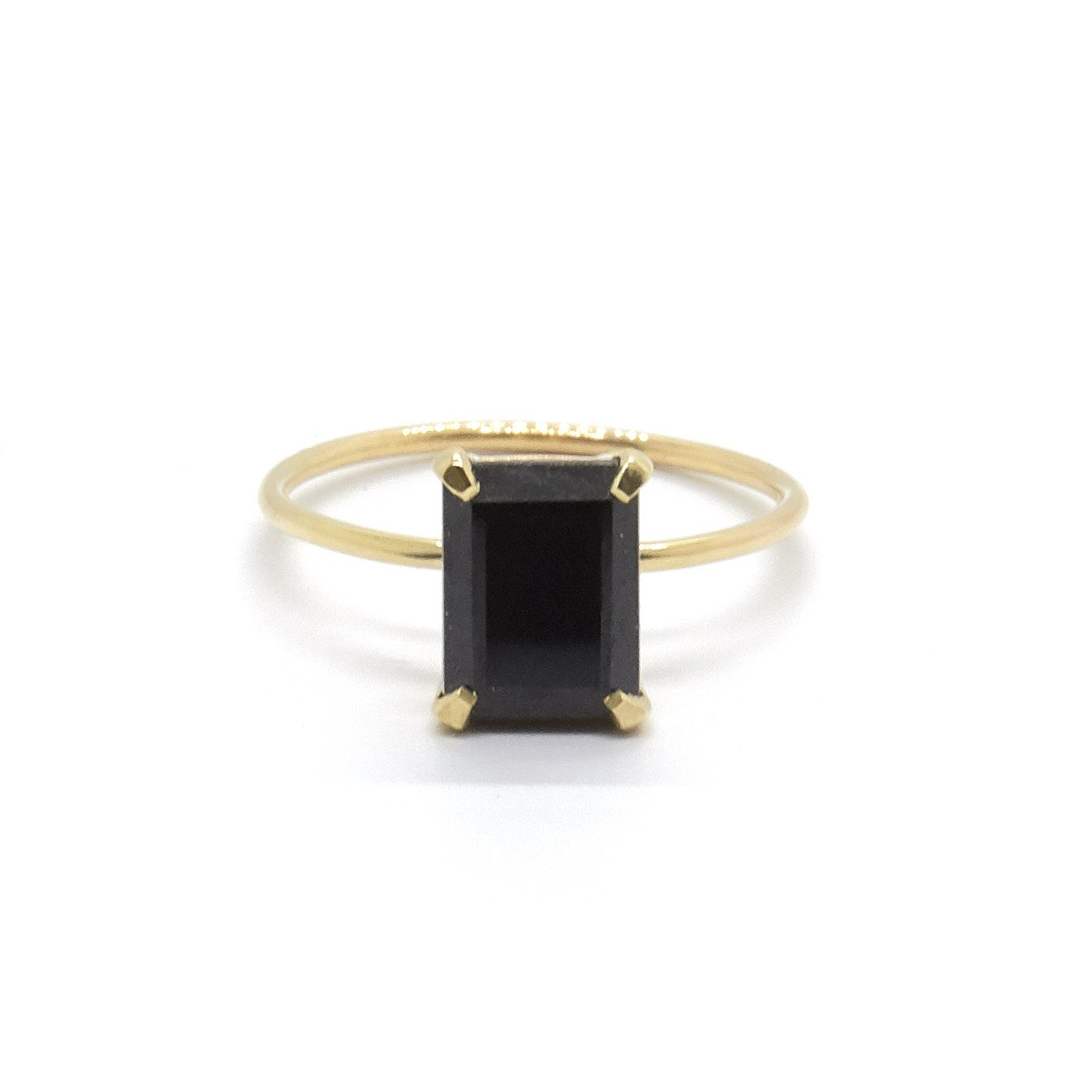 Natalie Marie Jewellery Emerald Cut Ring with Black Spinel