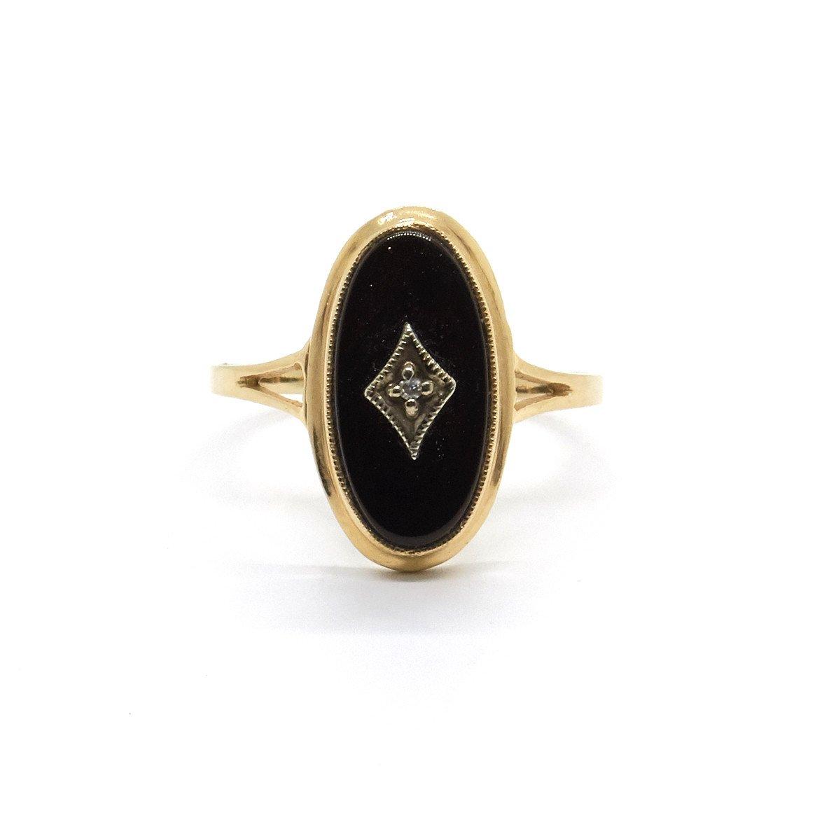 Natalie Marie Jewellery Antique Onyx and Diamond Ring