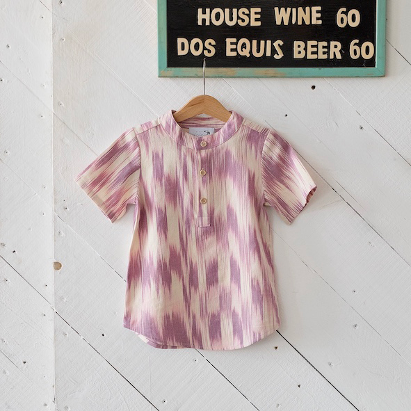 Little Islanders Resort Shirt Dusky Rose Ikat