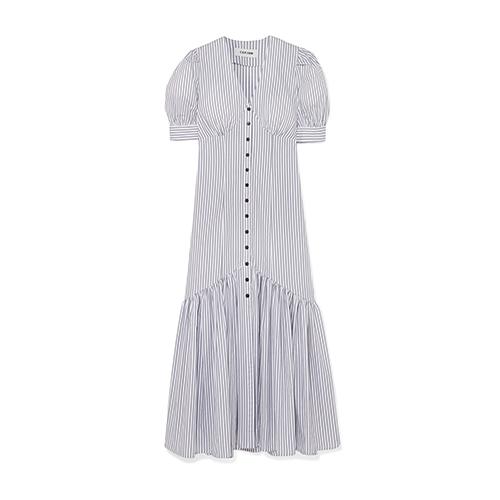 Cefinn Esme Striped Cotton-Jacquard Midi Dress