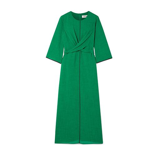 Cefinn Twist-Front Grosgrain-Trimmed Voile Midi Dress