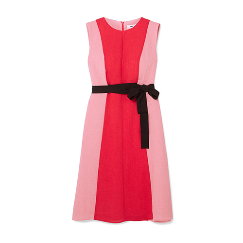 Cefinn Belted Two-Tone Voile Dress