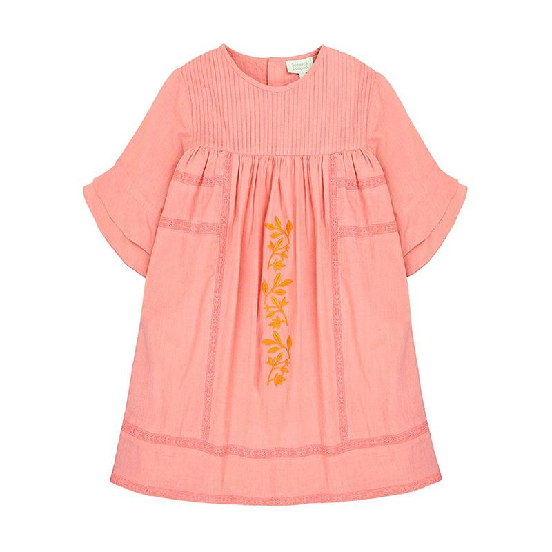 Bonnet à Pompon Embroidered Coral Dress