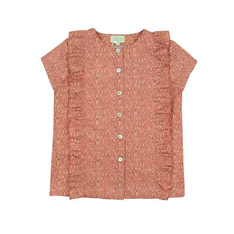 Bonnet à Pompon Dark Pink Frilled Blouse