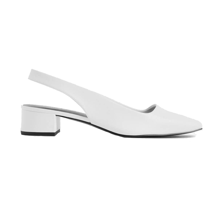 Charles & Keith Square Toe Block Heel Slingback Pumps White