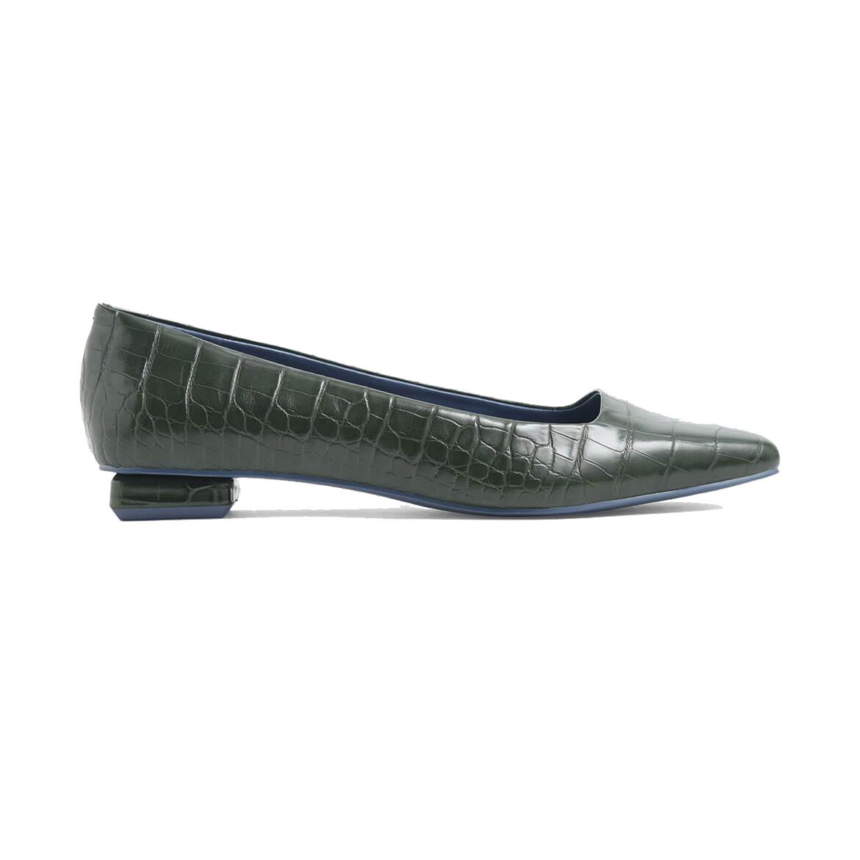 Charles & Keith Croc-Effect Square Toe Ballerina Flats