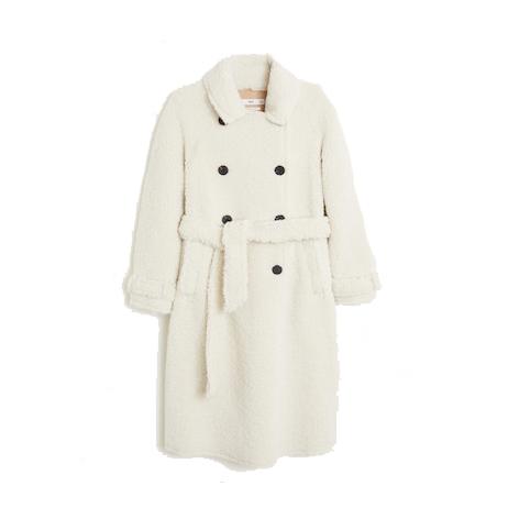 Mango Faux Shearling Long Coat